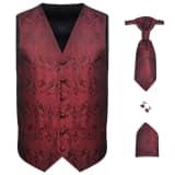 Pánska svadobná vesta s doplnkami, vzor paisley, veľkosť 52, vínová