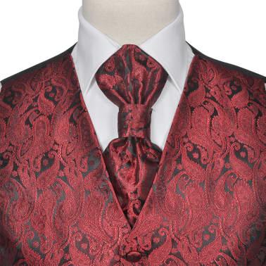 Pánska svadobná vesta s doplnkami, vzor paisley, veľkosť 54, vínová[3/8]