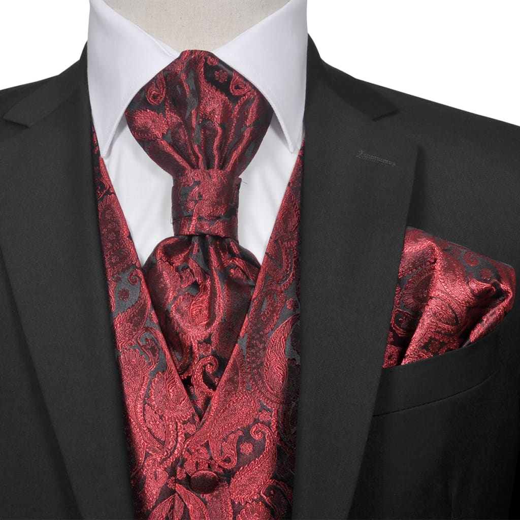 Pánská paisley svatební vesta a doplňky velikost 54 vínová