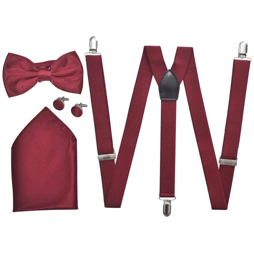 Set accesorii costum seară/ frac bărbați bretele & papion burgundy poza vidaxl.ro