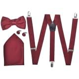 vidaXL Smoking accessoires bretels en vlinderdas set mannen bordeauxrood