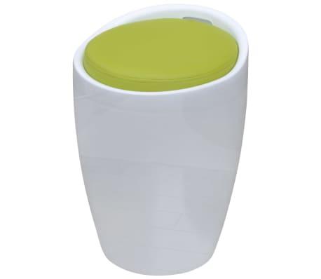 vidaXL Табуретка, бяло и зелено, изкуствена кожа