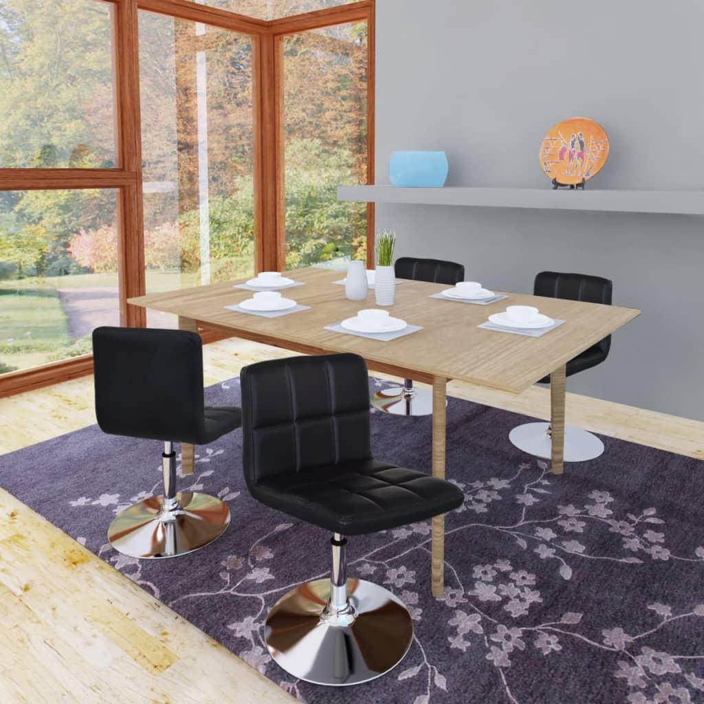 vidaXL Jídelní židle 4 ks otočné, s nastavitelnou výškou, černé