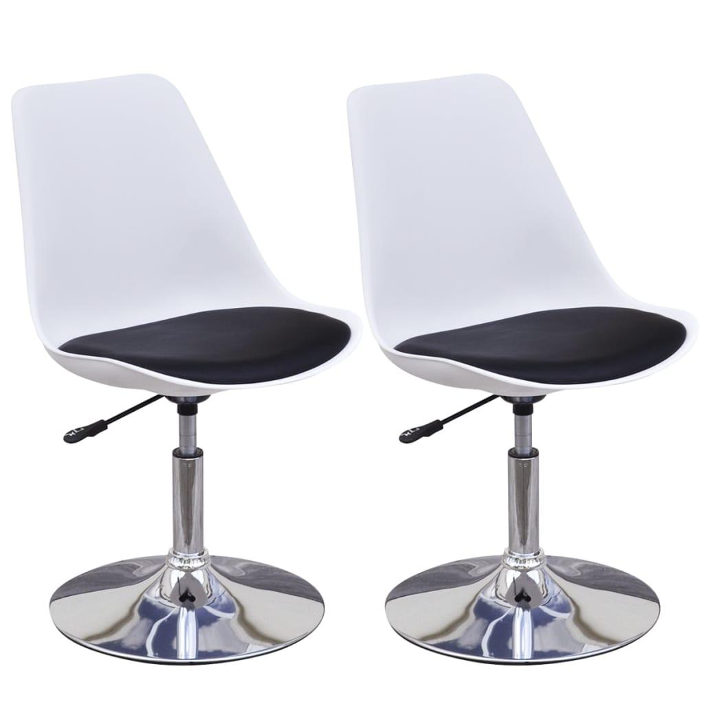 vidaXL Καρέκλες Τραπεζαρίας Περιστροφή/Ρύθμιση Ύψους 2 τεμ Ασπρόμαυρες