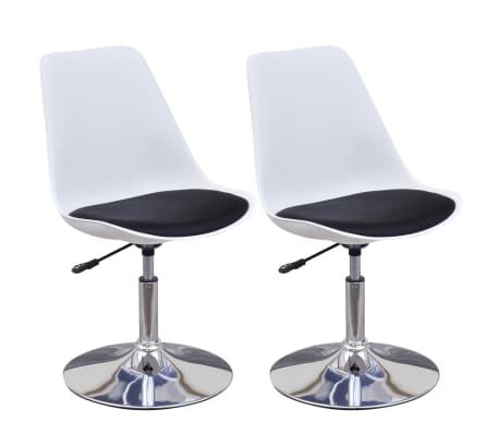 vidaXL Blagovaonske stolice od umjetne kože okretne 2 kom crno bijele