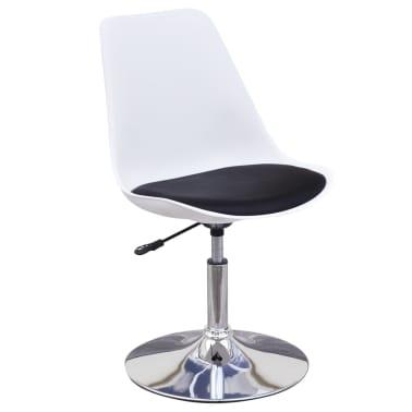 vidaXL spisebordsstole 2 stk. højdejustérbar drejelig hvid og sort[3/6]