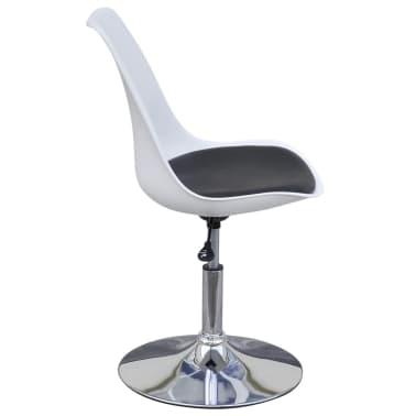 vidaXL spisebordsstole 2 stk. højdejustérbar drejelig hvid og sort[4/6]