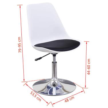 vidaXL spisebordsstole 2 stk. højdejustérbar drejelig hvid og sort[6/6]