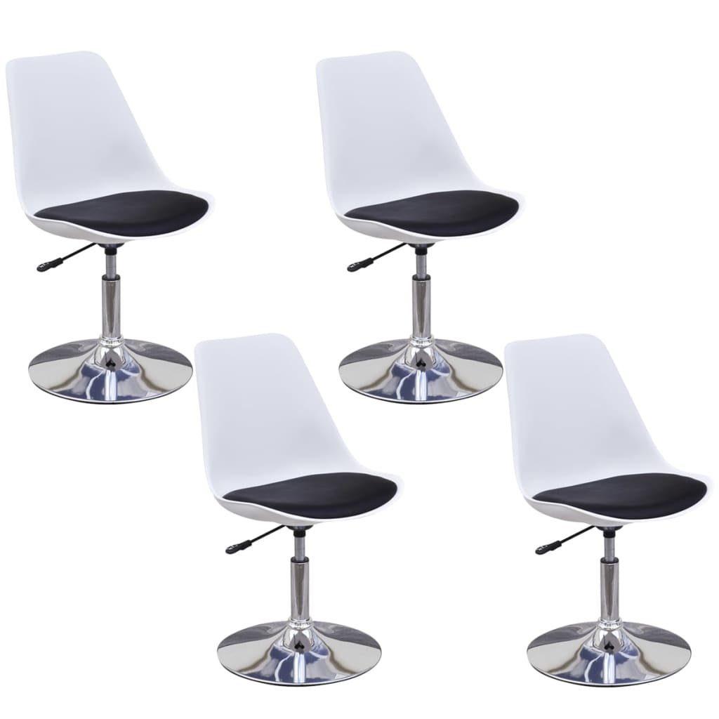 vidaXL Καρέκλες Τραπεζαρίας Περιστρεφόμ. 4 τεμ. Ασπρόμαυρες Δερματίνη
