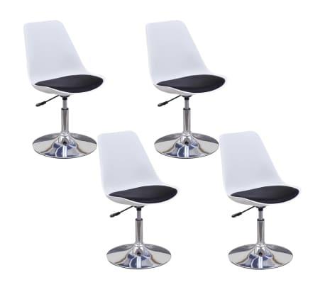 vidaXL Chaise de salle à manger 4 pcs Réglable Blanc et noir[2/6]