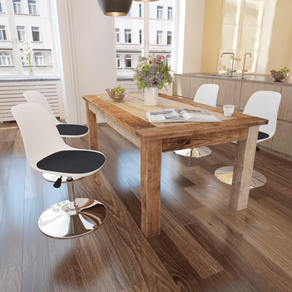 vidaXL Jídelní židle 4 ks otočné, s nastavitelnou výškou, černobílé