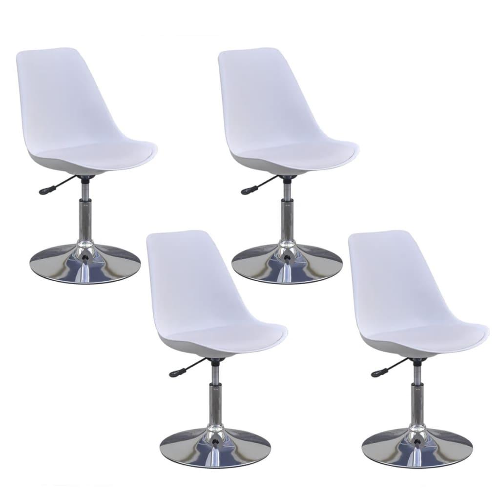vidaXL Καρέκλες Τραπεζαρίας Περιστρεφόμενες 4 τεμ. Λευκές Δερματίνη