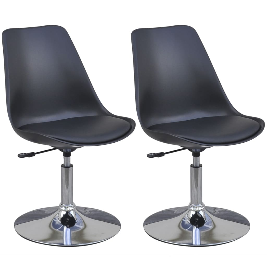 vidaXL Καρέκλες Τραπεζαρίας με Περιστροφή/Ρύθμιση Ύψους 2 τεμ. Μαύρες