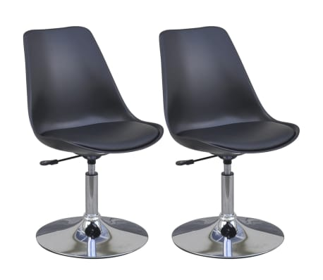 vidaXL Swivel Dining Chairs 2 pcs Black Faux Leather