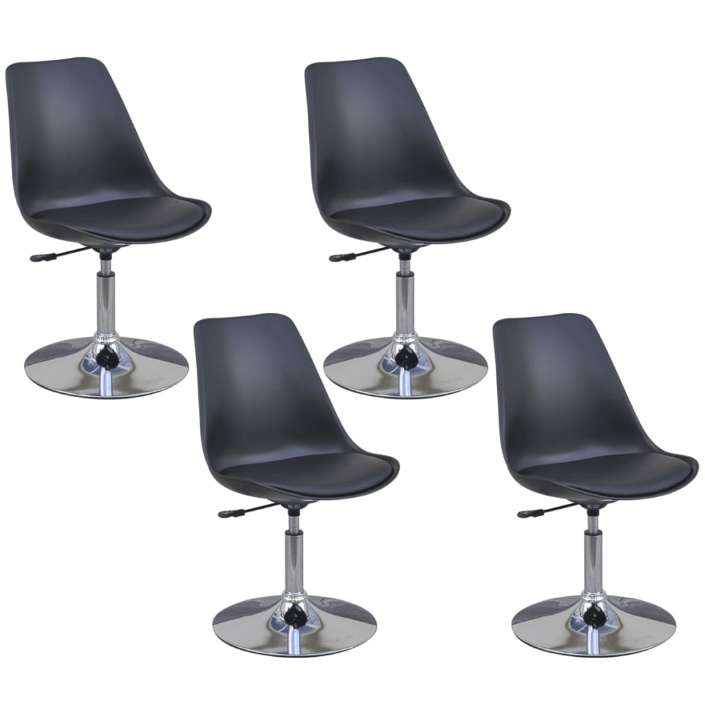 vidaXL Καρέκλες Τραπεζαρίας Περιστρεφόμενες 4 τεμ. Μαύρες Δερματίνη