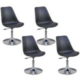 vidaXL Valgomojo kėdės, 4 vnt., reg. aukštis, pasukamos, juodos