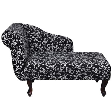 vidaXL chaiselong med blomstermønster stof sort og hvid[2/5]