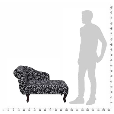 vidaXL Șezlong cu model floral, material textil, negru și alb[2/5]