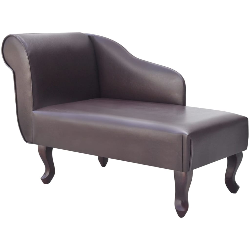 vidaXL Chaise longue Marron Similicuir
