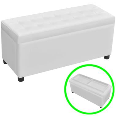 Banco baúl de almacenamiento cuero artificial y botones blanco ...