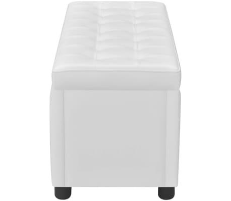 vidaXL Otomana de almacenamiento de cuero artificial blanco | vidaXL.es