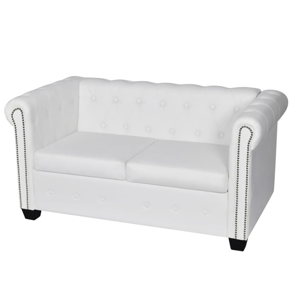 vidaXL Sofa 2-osobowa w stylu Chesterfield, sztuczna skóra, biała