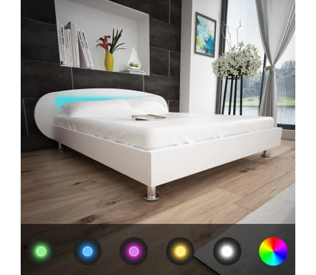 vidaXL Letto con LED 140 x 200 cm in Pelle Artificiale Bianca ...