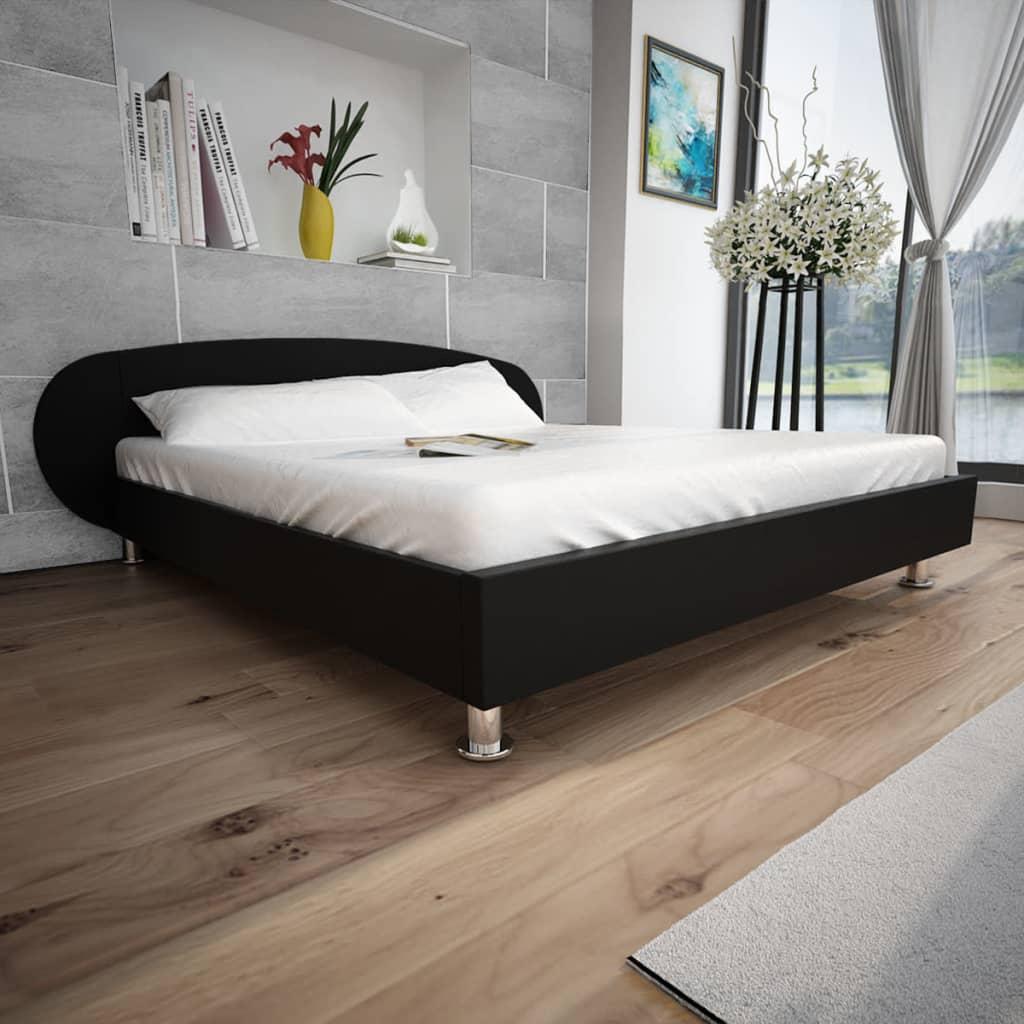 vidaXL Cadru de pat, negru, 180 x 200 cm, piele artificială poza 2021 vidaXL