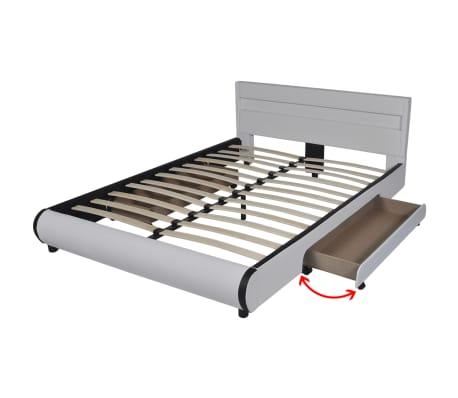 Pat piele artificială 2 sertare și tăblie cu bandă LED 140 cm, alb[6/10]