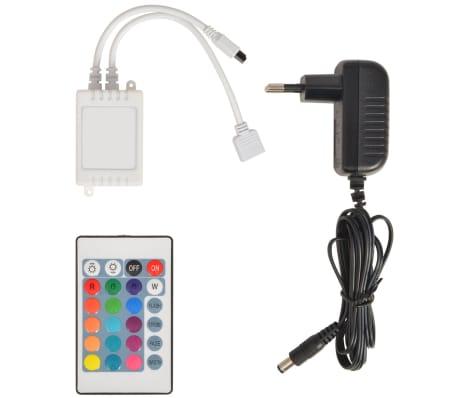 Pat piele artificială 2 sertare și tăblie cu bandă LED 140 cm, alb[8/10]