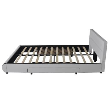 Pat piele artificială 2 sertare și tăblie cu bandă LED 140 cm, alb[4/10]