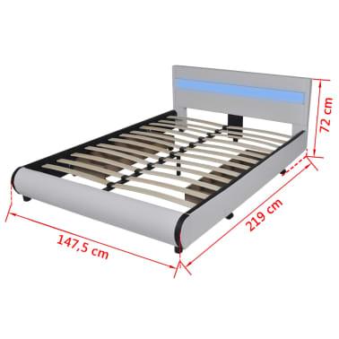 Pat piele artificială 2 sertare și tăblie cu bandă LED 140 cm, alb[10/10]