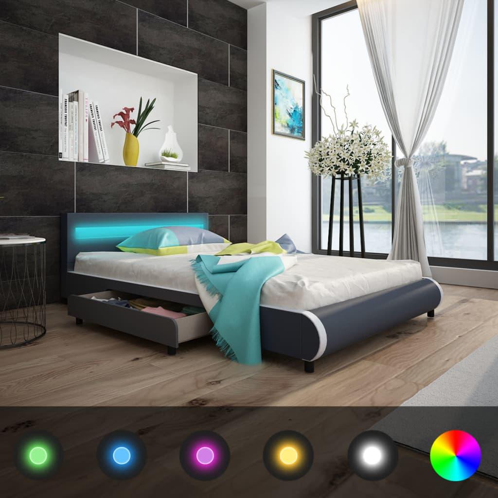 vidaXL Cadru pat cu sertare, LED, gri, 140x200 cm, piele artificială imagine vidaxl.ro