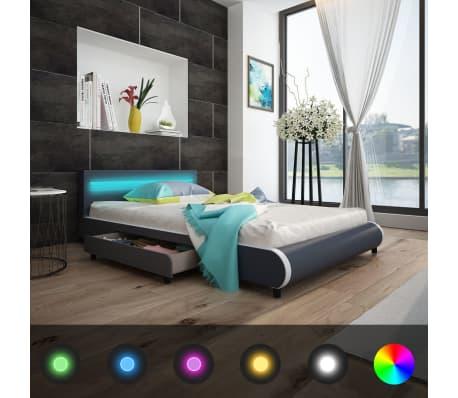 kunstlederbett mit 2 schubladen mit led leiste am kopfteil 140 cm grau g nstig kaufen. Black Bedroom Furniture Sets. Home Design Ideas