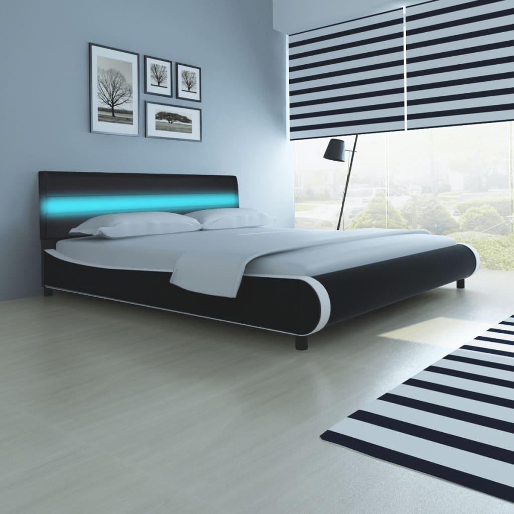 vidaXL Κρεβάτι με LED στο Κεφαλάρι Μαύρο 180 εκ. Ταπετσαρία από Δερματίνη