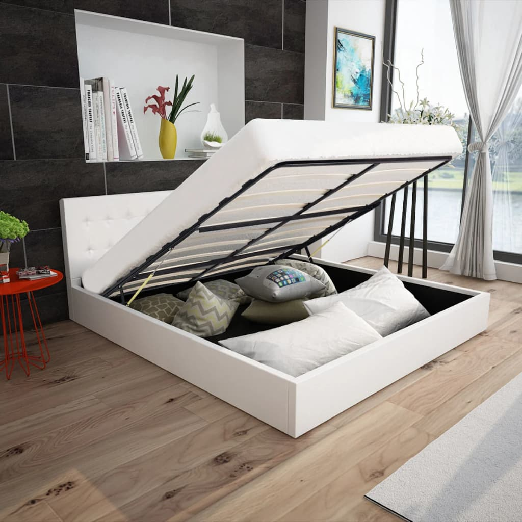 vidaXL Κρεβάτι με Αποθηκευτικό Χώρο 140 εκ. Συνθετικό Δέρμα Λευκό