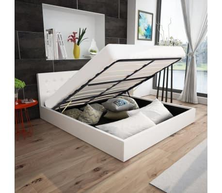 acheter lit coffre hydraulique 140 cm en cuir synth tique blanc pas cher. Black Bedroom Furniture Sets. Home Design Ideas
