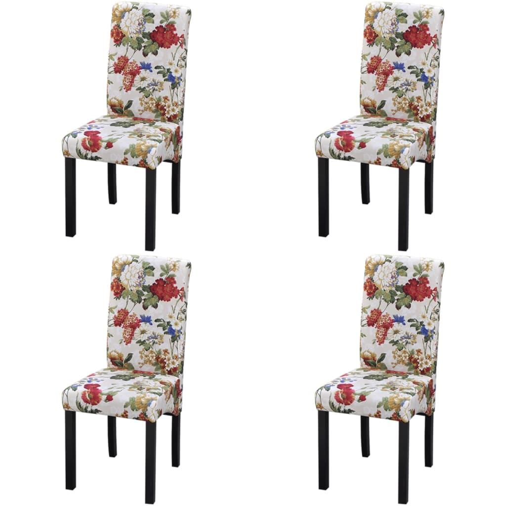 vidaXL Καρέκλες Τραπεζαρίας 4 τεμ. με Φλοράλ Σχέδιο Ξύλινες