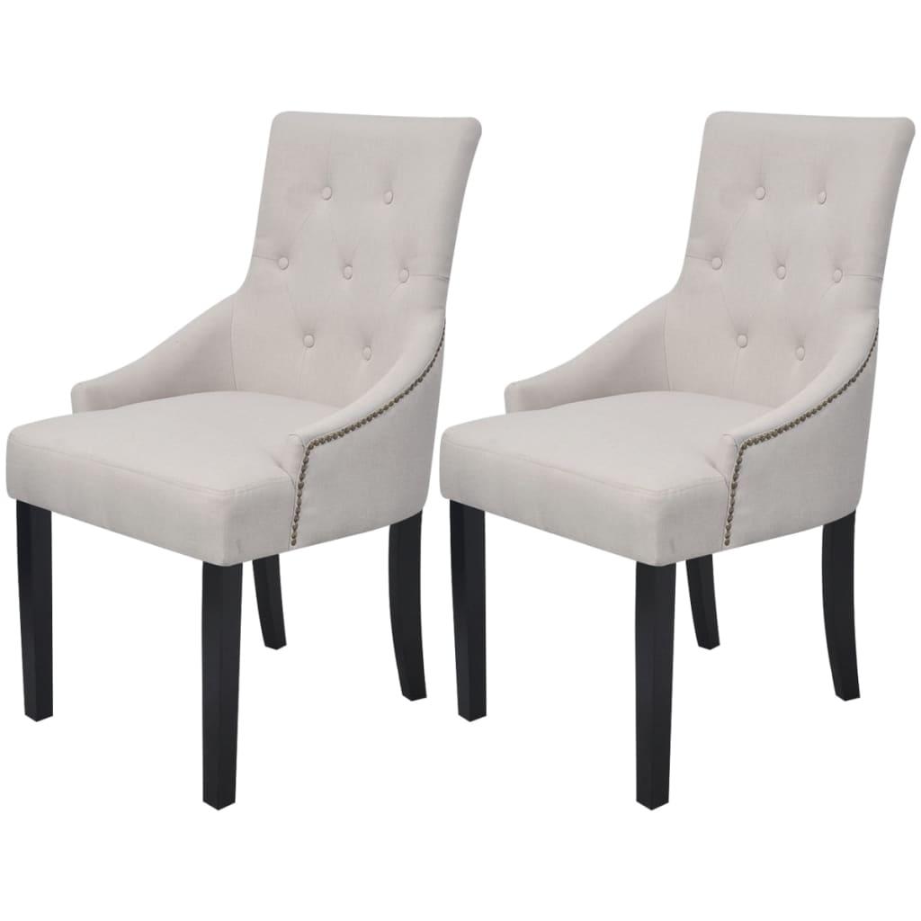 vidaXL Καρέκλες Τραπεζαρίας 2 τεμ. Κρεμ από Πολυεστέρα