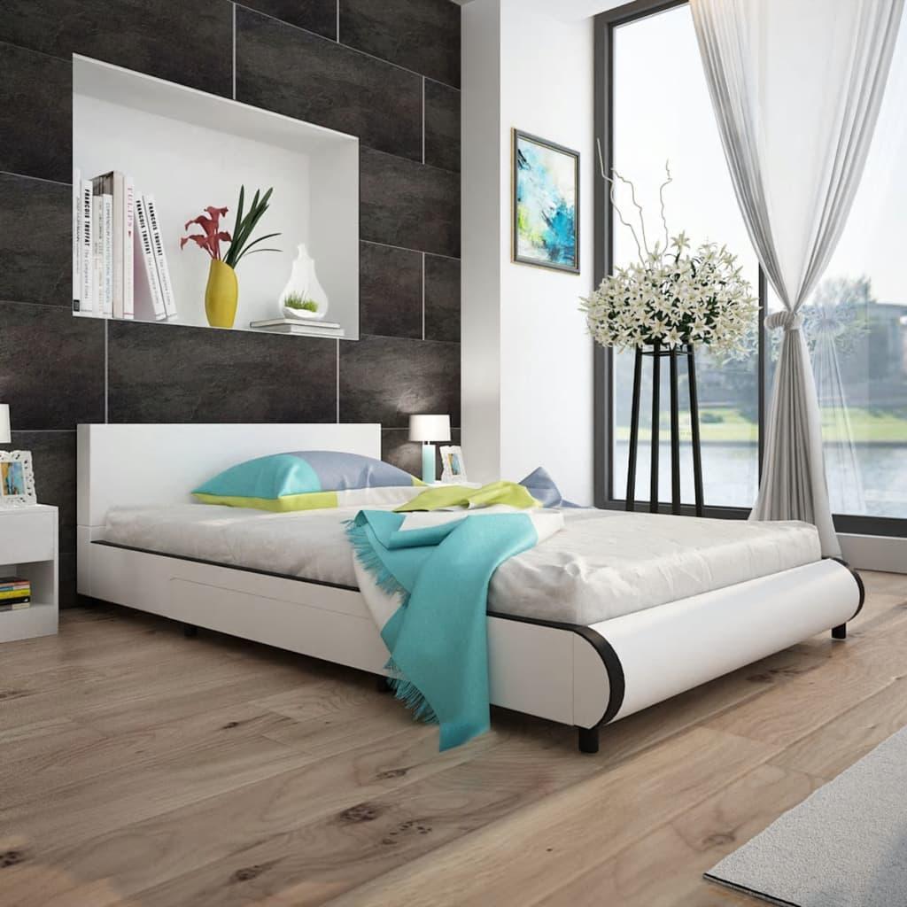 vidaXL Bedframe met 2 lades kunstleer wit 140x200 cm