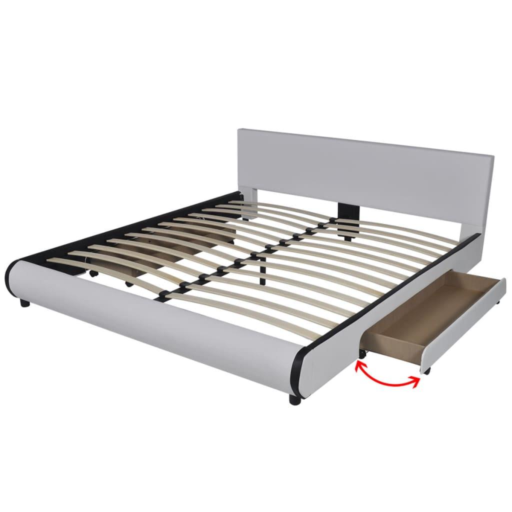 vidaXL Πλαίσιο Κρεβατιού με Συρτάρια Λευκό 180×200 εκ. Συνθετικό Δέρμα