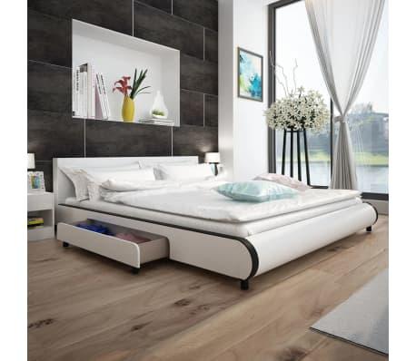 vidaXL Bett 180×200 cm mit 2 Schubladen Kunstleder Weiß