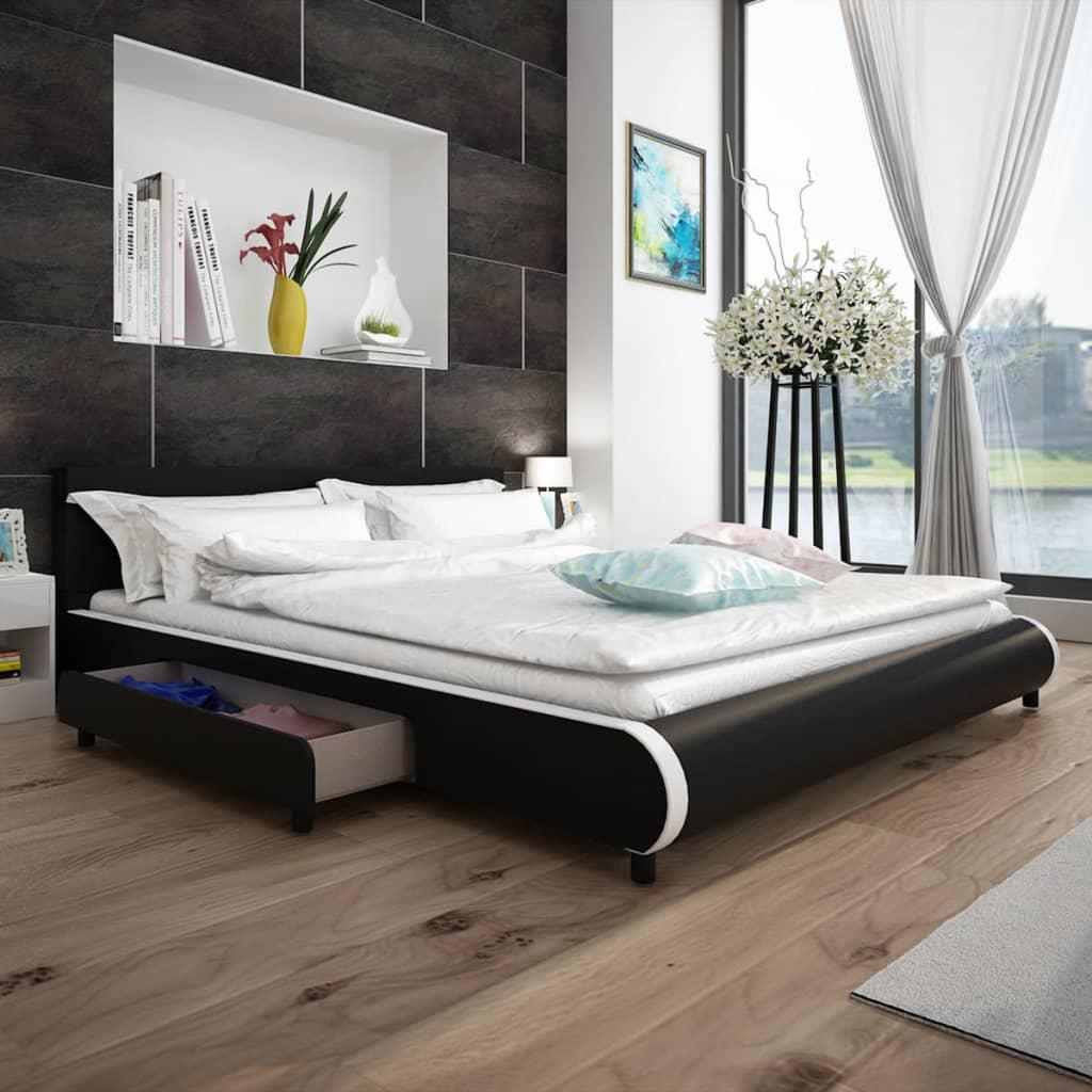 vidaXL Κρεβάτι με 2 Συρτάρια Μαύρο 180 x 200 εκ. από Συνθετικό Δέρμα
