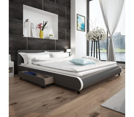 Vidaxl łóżko Z 2 Szufladami 180 X 200 Cm Sztuczna Skóra Szare