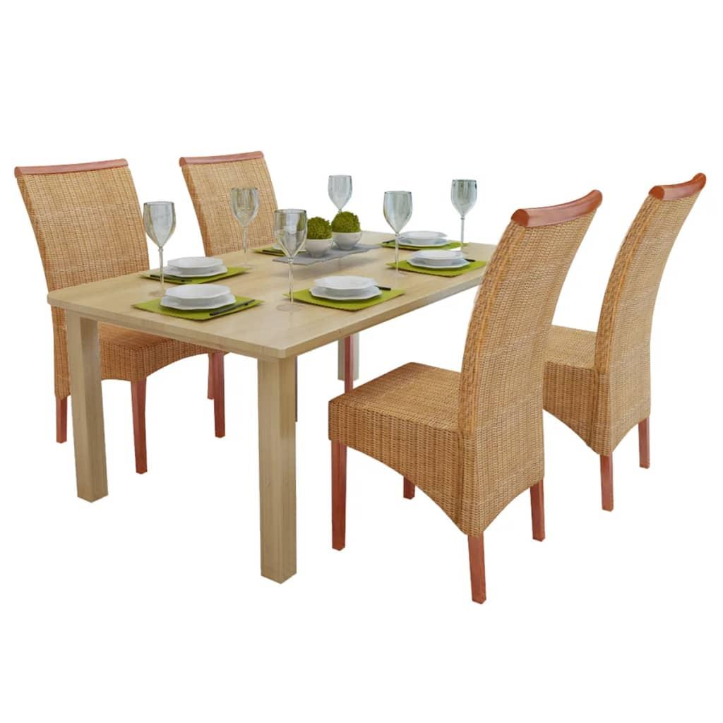 Sada 4 ratanových jídelních židlí ručně vyplétaných, dekorativní lišta