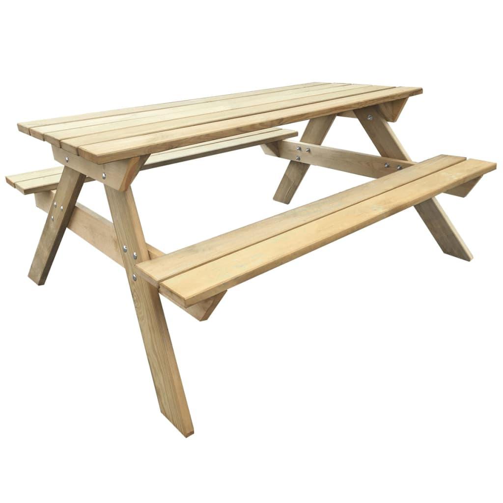 vidaXL Piknikbord i tre 150 x 135 x 71,5 cm