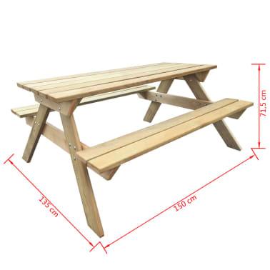 vidaXL Mesa de piquenique 150x135x71,5 cm madeira FSC[4/4]