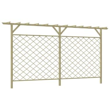 vidaXL Ogrodzenie ogrodowe z kratką i pergolą, drewno FSC[1/3]