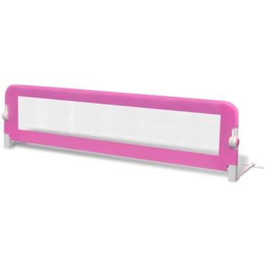 Säkerhetsgrind för småbarnssäng 150 x 42 cm rosa[2/5]