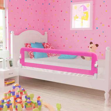 Säkerhetsgrind för småbarnssäng 150 x 42 cm rosa[1/5]